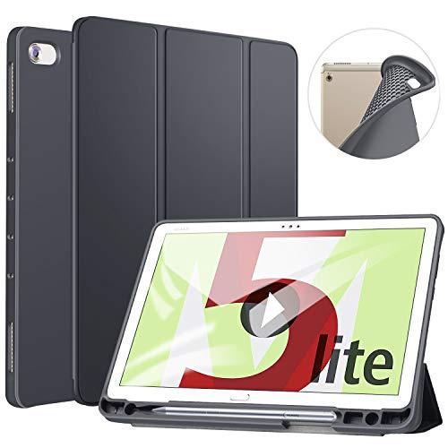 ZtotopCase Hülle für Huawei MediaPad M5 Lite 10, TPU Soft Shell Hülle Schutzhülle mit Stifthalter, Automatischem Schlaf/Aufwach, Anwendbar für Huawei MediaPad M5 Lite 10.1 Zoll 2018,Dunkel Grau