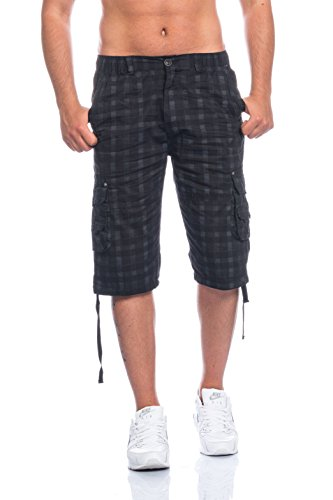 Schwarze Karo-hose (Herren Bermuda Shorts Kurze Hose Karo 816 (S, schwarz))