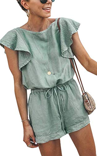 SPec4Y Damen Playsuit-Rüschen Kurze Ärmel Overalls Elastische Taille Rompers Jumpsuit mit Gürtel Grün L