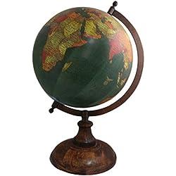 """Vintage hecho a mano de madera soporte palabra mapa antiguo decorativo plástico globo globo de 14""""pulgadas Hecho a mano soporte de madera palabra mapa"""