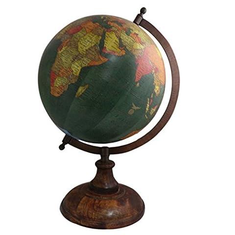 Vintage handgefertigt Holz Ständer Word Map Antik Deko Kunststoff Globe 35,6cm Zoll Globe handgefertigt Holz Ständer Word