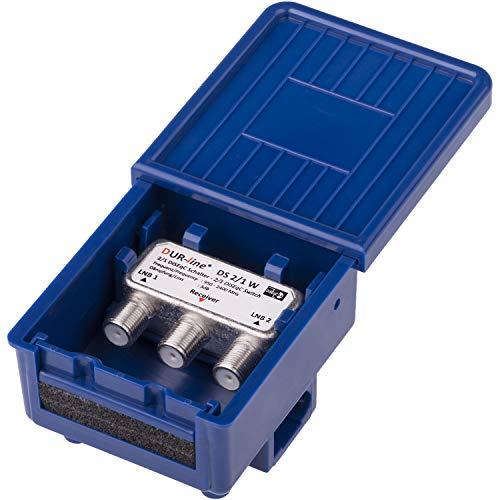 DUR-line 2/1 DiseqC Schalter - im Wetterschutzgehäuse für den Empfang von 2 Satelliten für 1 Teilnehmer – LNB Signal Umschalter/Switch für SAT Receiver – für Multifeed-Anlagen ohne Multischalter