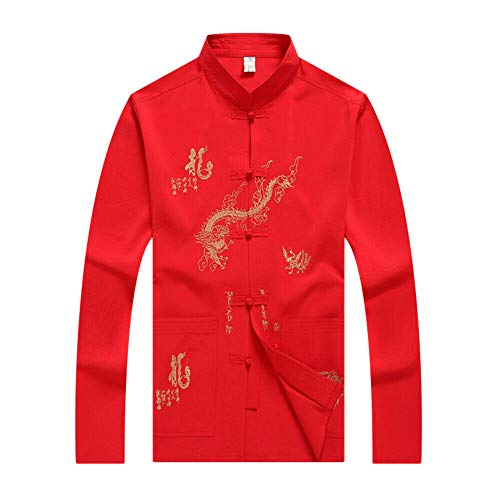 Meijunter Tai Chi Uniform Kostüm - Ältere Männer Chinesisch Traditionell Kampfkunst Wing Chun Shaolin Kung Fu Jacke Training Kleidung (Jacke Red Wings Winter)