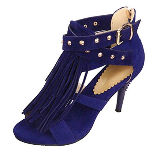 YE Damen High Heels Peep Toe Stiletto Sandalen mit Fransen Schnalle und Nieten Reißverschluss Schuhe Blau
