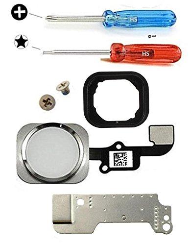 """MMOBIEL Bouton Home pour iPhone 6 / 6 Plus (Blanc) avec Connecteur nappe """"flex"""", Cadre en métal, protège bouton et joint en caoutchouc préinstallés + Set complet Vis / Tournevis adaptés (x2)"""
