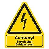 """"""" Achtung ! Elektrischer Betriebsraum """" Warnzeichen Warnschild Folie selbstklebend"""