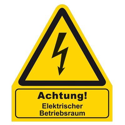 """"""" Achtung ! Elektrischer Betriebsraum """" Warnzeichen Warnschild Folie selbstklebend 210 x 245 mm"""