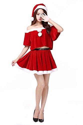 NEPW Damen Weihnachtsmann Kostüm Miss Santa Cosplay Prinzessin Kleid (Santa Kostüme Frauen Für)
