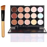 JUYUAN-EU 15 Colors Makeup Concealer Maquillajes Corrector Contour Palette +Makeup Brush-FG15#1