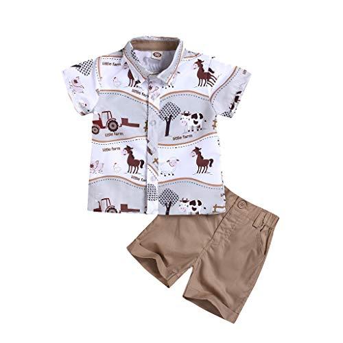 Deloito Kinder Karikatur Kuh Schaf Tier Gedruckt kurzärm T Shirt + einfarbige Shorts Anzug Kleinkind Jungs Gentleman Babykleidung Outfits (Weiß-A,90/[12-18 Monate]) - Drucken Krawatte Set