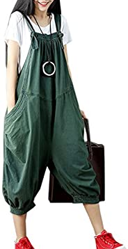 Flygo Women's Loose Baggy Cotton Wide Leg Jumpsuits Rompers Overalls Harem P