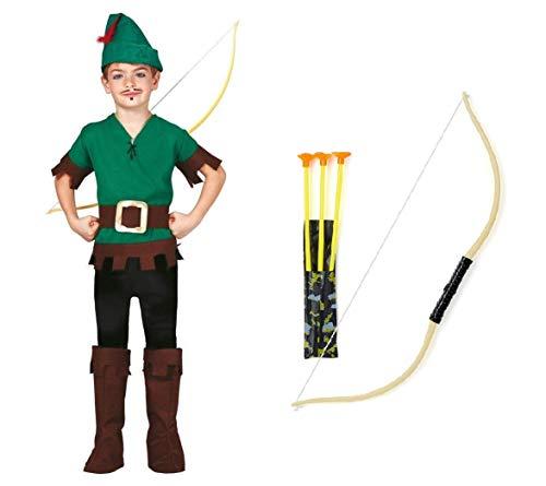 Fiesta Guirca Kit Set Robin Hood Costume per Bambini Taglie Varie + Arco con 3 freccie (10-12 Anni)