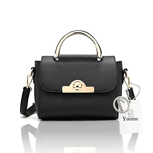 Yoome Punk Style Cross Pattern Flap Bag Top Handle Borse Borse in pelle Tote con tasche - Navy Nero