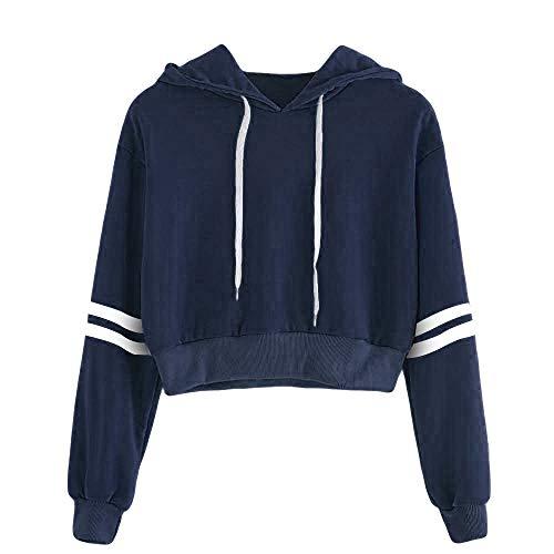Sterben Kinder Hoodie (Xmiral Damen Kapuzenpullover Striped Kordelzug Crop Sweatshirt Pullover Crop Pullover Top (XL,Dunkelblau))