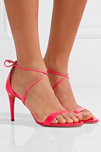 EDEFS - Chaussures Femme - Sandales bout ouvert - Aiguilles Eté Elégant - Bride de cheville femme - Soirée Rose