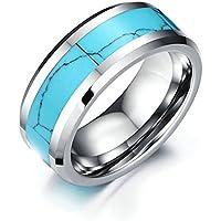 Daesar Anelli Acciaio Inossidabile Uomo Donna Carbide Blu Turquoise(Created) Beveled