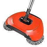 RFDE Besen Hand-Druckart Kehrmaschine Haltegriff Magische Besen Kehrschaufel Mop Haushaltsreiniger, Rot