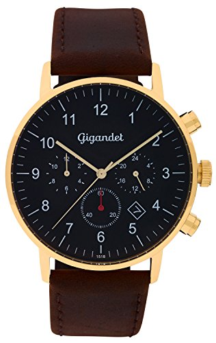 Gigandet Quartz Men's Watch Minimalism II Dual Time Gold Watch Date Analog Leather Strap Brown G21 002