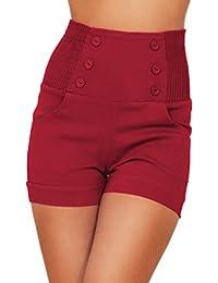 Anspruchsvolles Modisch Schicke Shorts Mit Knöpfen Verziert Hohe Taille