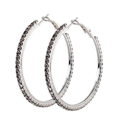Geralin Gioielli Damen Ohrringe große Creolen Silber Strass 5cm Fashion Ohrhänger Vintage