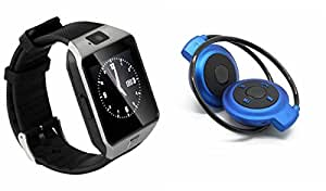 MIRZA DZ09 Smart Watch & Bluetooth Headset for OPPO NEO 5.(Bluetooth Headset & Bluetooth DZ09 Smart Watch Wrist Watch Phone with Camera & SIM Card Support Hot Fashion New Arrival Best Selling Premium Quality Lowest Price with Apps like Facebook, Whatsapp, Twitter, Sports, Health, Pedometer, Sedentary Remind & Sleep Monitoring, Better Display, Loud Speaker, Microphone, Touch Screen, Multi-Language, Compatible with Android iOS Mobile Tablet-Assorted Color)