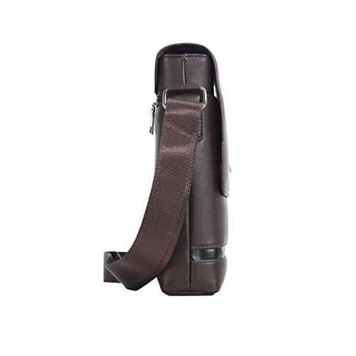 Eagle , Herren Schultertasche Black Leather-008 M Dark Brown Model-6028