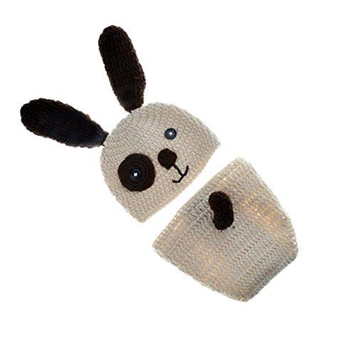 ENCOCO Baby Foto-Requisiten-Kostüm, gestrickt, gehäkelt, für Fotografie, Kleinkinder, niedlich, in Hundeform, handgefertigt, mit Mütze, Unisex