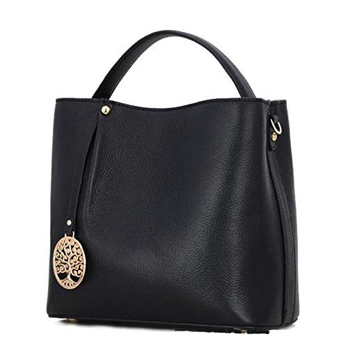GBT Art und Weiselederhandtaschen-Schulterbeutel Black