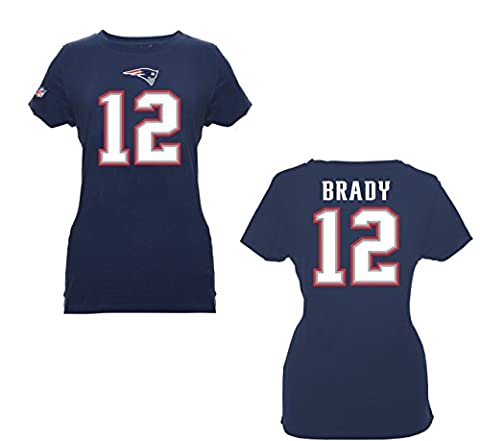NFL Football T-Shirt Trikot Damen Women NEW ENGLAND PATRIOTS Tom Brady #12 navy in M (MEDIUM)