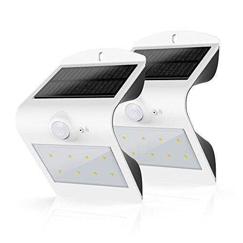 2 Stück HonestEast LED Solarleuchten, Solarlicht mit Bewegungssensor Außenleuchten für den Garten Hof Balkon Zaun Terrasse Deck Fahrweg Treppen Nachtlicht im Freien (Weiß)