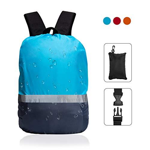 TITE Rucksack Regenschutz mit reflektierendem Gurt, vertikale verstellbare Schnalle, modisch, wasserdicht, für Wandern, Camping, Outdoor-Aktivitäten, Klettern, Radfahren, Geschenk, blau, Small -