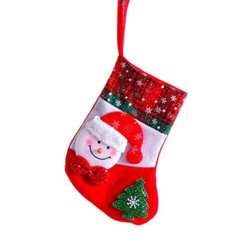 Kakiyi Snowflake Weihnachtssocken Weihnachtsmann Schneemann Elch Bär Folks Tasche Süßigkeit-Geschenk-Beutel-Strümpfe -