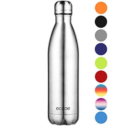 Ecooe Thermosflasche 750ml Doppelwandig Trinkflasche Edelstahl Wasserflasche Vakuum Isolierflasche Silber -