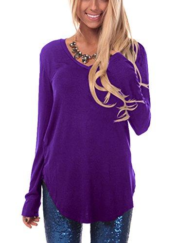 ZIOOER Damen Pulli Langarm T-Shirt V-Ausschnitt Lose Bluse Langarmshirts Hemd Pullover Sweatshirt Oberteil Tops Shirts Lila S
