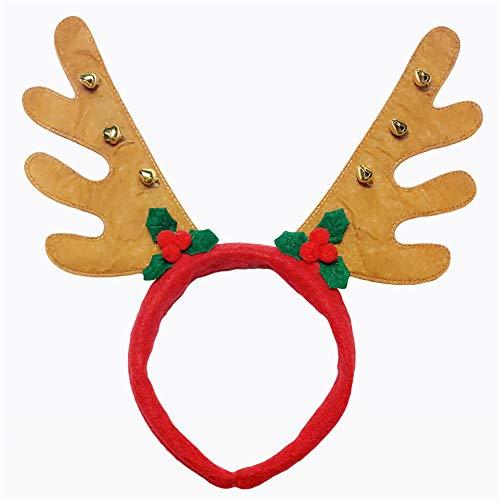 Bonita diadema Navidad hebilla cabeza reno campana