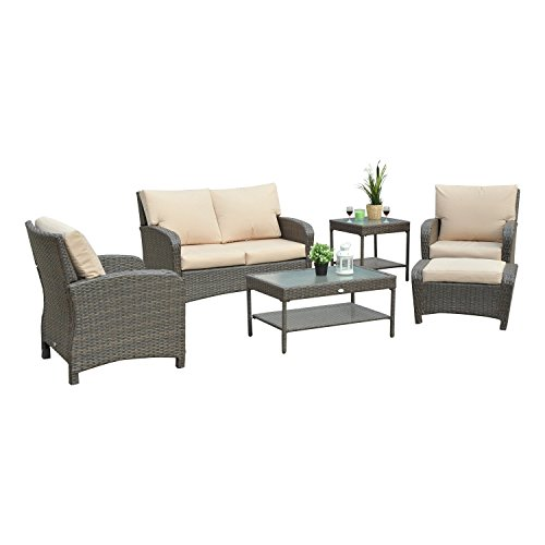 Outsunny 6PC Rattan Sofa Set Garden Wicker W/ Ottoman Yard Outdoor Patio Wicker Furniture 1 x Love Seat Chair, 1 x Single Chair, 1 x Rotatable Single Chair, 1 x Side Table, 1 x coffee table and 1 x footstools
