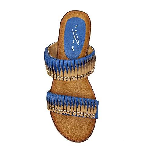ZAFFIRO BOUTIQUE JLH722 Dayton Donna Oro Borchiata Torsione Contrasto Spalline Sandali Con Zeppa Bassa Blu