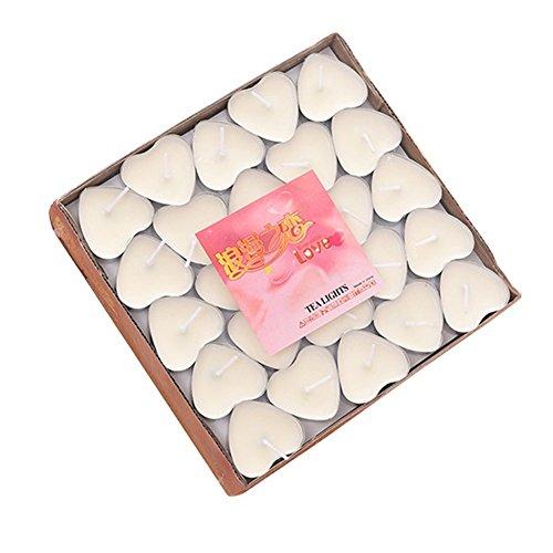 Leisial 50 Stück Teelicht Set Kreative Kerze Romantisches Herz Teelicht Rauchfrei Teelicht für Geburtstag,Vorschlag,Hochzeit,Party,Weiß
