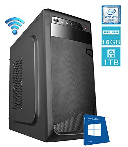 PC DESKTOP computer fisso • LICENZA WINDOWS 10 PRO • assemblato completo Intel QUAD-CORE 2.00 ghz • RAM 16gb • HDD 1tb • MASTERIZZATORE • WIFI • DILC GREEN HIGH PLUS