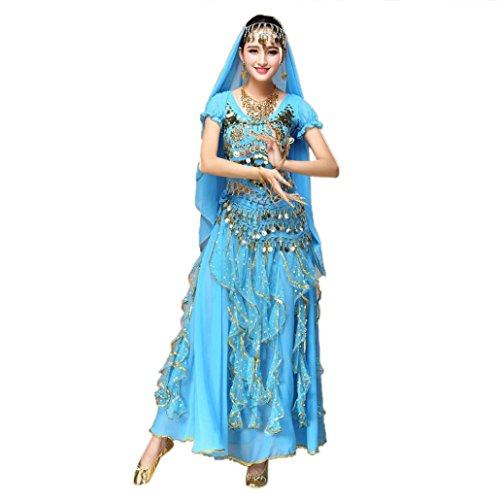 BBTXS Damen Bauchtanz Kleidung, Indien Tanz Kostüm (Top + Rock #2, Hellblau) (Traditionelle Tanz Kostüm Von Indien)