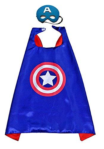 3-6 ans - Costume Set - Mascarade - Carnaval - Halloween - Capitaine Amérique - Super héros - Couleur bleue - Masque - Cape - Enfant