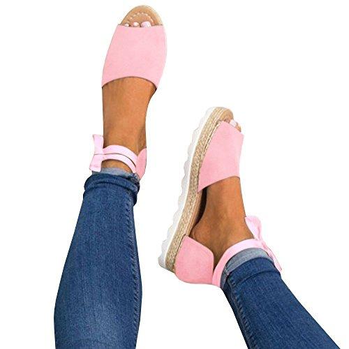 Minetom Femme Poissons Bouche Sandale Chaussures de Plage Talon Plate Printemps Été Bohême Shoes Mode Décontractée Couleur de Bonbon Pink EU 42