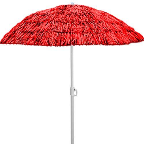 Deuba Sonnenschirm Hawaii • Ø 160 cm • Neigefunktion • Höhenverstellbar • stabile Verstrebungen • Rot - Gartenschirm Terrassenschirm Balkonschirm Rund Marktschirm Strandschirm