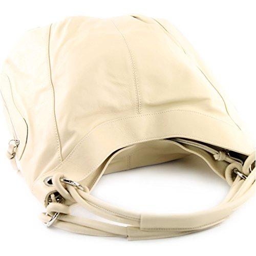 modamoda de - ital. Handtasche Damentasche Schultertasche Ledertasche Tasche Nappaleder Z18 Elfenbein