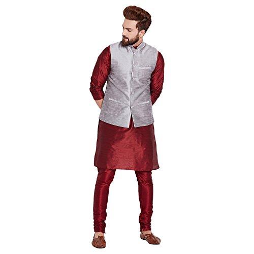 Sojanya (Since 1958), Maroon and Grey Dupion Silk Kurta Pyjama and Nehru...