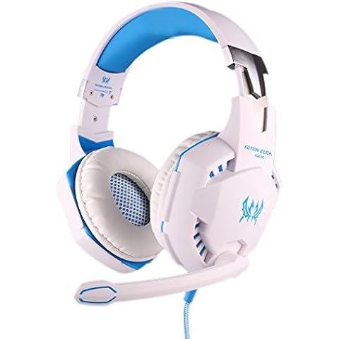 Reproductor de juego auriculares, Koiiko? Cada función de vibración G2100Profesional Gaming Headset Luz LED Auriculares diadema con micrófono estéreo Bass aislamiento de ruido para PC Ordenador Portátil Gamer azul & negro