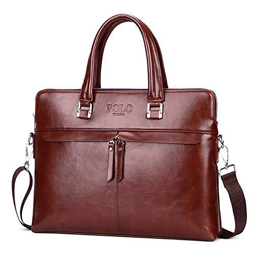 Z3Z Herrenhandtasche Umhängetasche Computertasche PU Leder Wasserdicht Volltonfarbe Große Kapazität Multifunktional Modreizeittasche 39 * 7 * 30cm,Brown