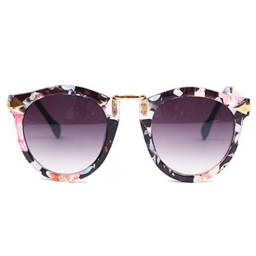 Damen Retro Sonnenbrillen Metallrahmen Süße Runde Brille Schutzbrille (Blumen)