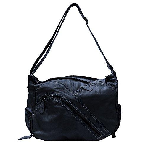 Schultertasche, Umhängetasche ,Damentasche (41/ 30/16) echtes Leder Mod. 2012 Blau by Fashion-Formel