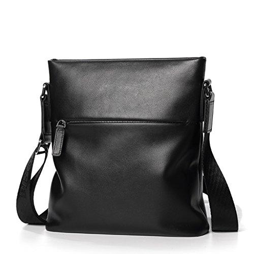 Herren Tasche Jugend Business Schultertasche Umhängetasche Lässig Leder Aktentasche Soft Leder Herren Tasche (Farbe : Black) -
